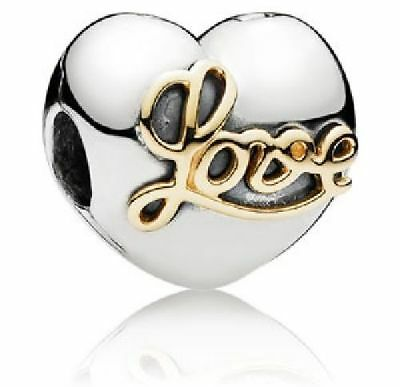 9732939c8 NEW Authentic Pandora Sterling Silver & gold Heart of Love Clip charm new  791735