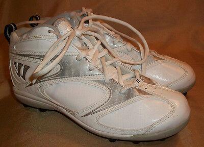 size 4 boys New!  WARRIOR Mid white silver Lacrosse Soccer Football Cleats Shoes