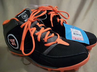 size 4 boys New!  WARRIOR Mid brown orange Lacrosse Soccer Football Cleats Shoes