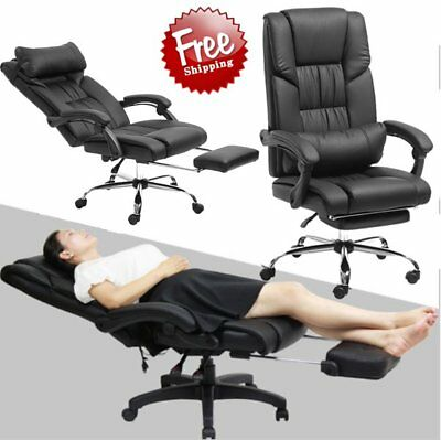 Home Reclining Chair Ergonomic Highback Bucket Seat Computer Desk Footrest HP