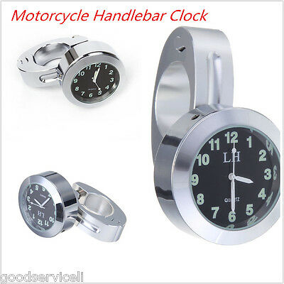 "7/8""Motorcycle Accessory Handlebar Mount Clock Watch Universal Silver waterproof"
