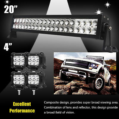 """24inch LED Light Bar Spot Flood Combo + CREE 4x 4"""" Pods Ford SUV 4WD Jeep UTE 20"""