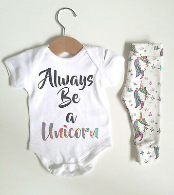 US Stock Newborn  Unicorn Baby Romper Long Pants Leggings Outfits Clothes Set