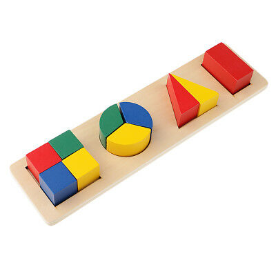 Kids Montessori Geometry Puzzles Building Multiple Early Learning Wooden Toy