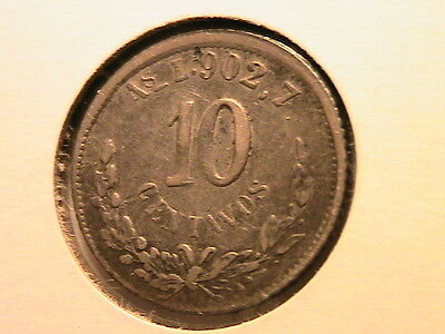 1876 AsL MEXICO 10C Ten Centavos Alamos Mint silver coin mexican second republic