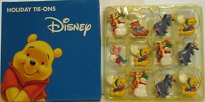 Disney Pooh Tigger EEYORE Piglett & Roo 12Pc. Mini Tie-Ons Snow Ornament Set