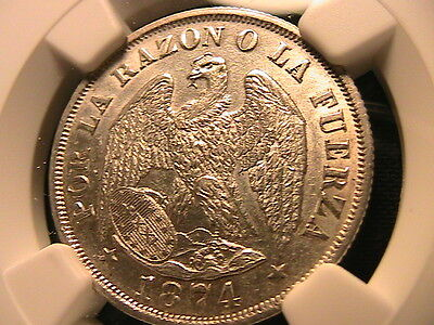 CHILE 1874 Silver 20 Centavos Coin NGC MS-61 CH Lustrous White KM138.1 S America