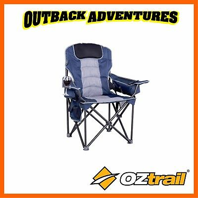 Oztrail Goliath Camping Arm Chair - Blue Strong Heavy Duty 300Kg Weight Rated