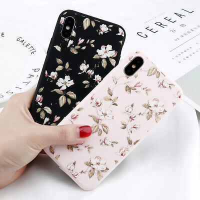 For iPhone X 8 7 6s Plus Flower Pattern Slim Rubber Soft TPU Silicone Case Cover