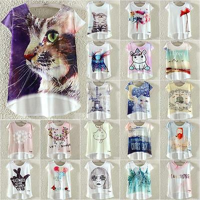 Women Summer Printed Loose Casual Short Sleeve Blouse T-Shirt Tee Tops Plus Size