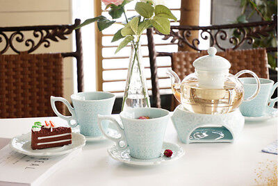 NEW European Style Porcelain And Glass Tea Set Cup Teapot Saucer Coffee Mug