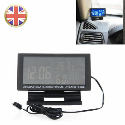 Digital Car Voltage Thermometer Hygrometer Weather Station LCD Clock 12V UK RLTS