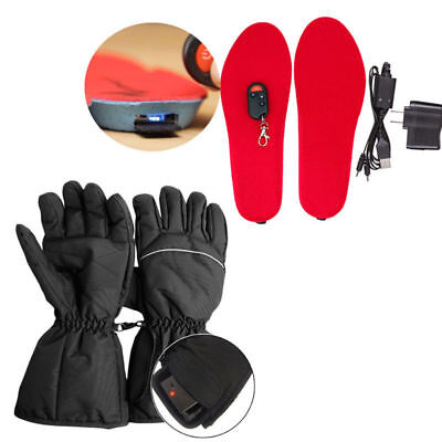 Electric RED Heated Shoe Insoles Foot Warmer Heater Feet Battery SIZE L + Gloves