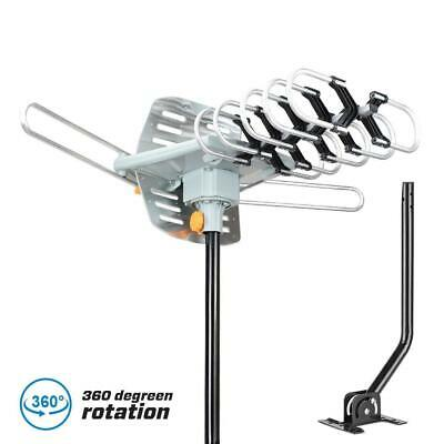 TV Antenna Amplified 150miles Long Range Outdoor HDTV Digital Rotating with Pole