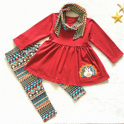 3PCS Toddler Kids Baby Girl T-shirt Tops Dress+Pants Leggings Outfit Clothes Set
