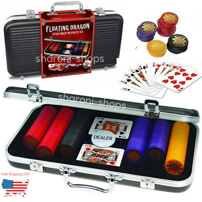 Top Quality Poker Set Case 300 Poker Chips 2 Decks Cards Carry Case Texas HoldEm
