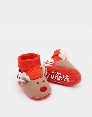 Joules Nipper Character Baby Boys Slippers in 100% Cotton in Reindeer