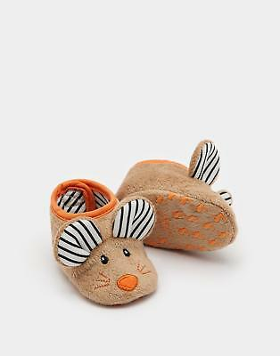 Joules Squeaker Girls Character Slippers in Mouse with 3D Details Jersey Lining