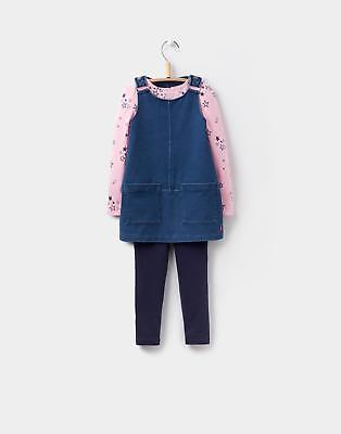 Joules Joyce Girls Pinafore Three Piece Set with Patch Pockets in Denim