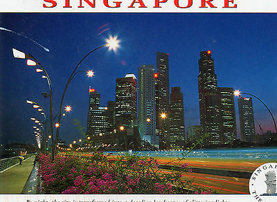 Singapore Picture POSTCARD at NIGHT Vintage car stamp Skyscrapers lights frame?
