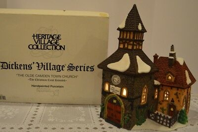 """Dept 56 Dickens Village """"Olde Camden Town Church""""  1996 Lighted House, FREE SHIP"""