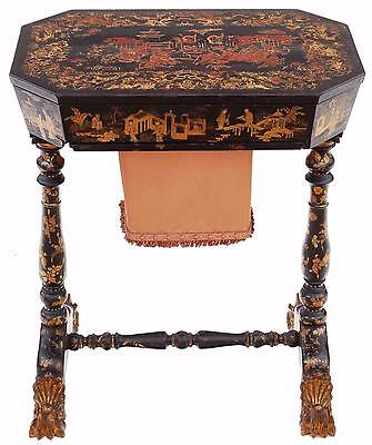 Antique 19th Century decorated Chinoiserie work side sewing table box