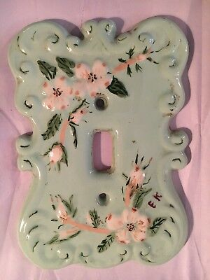 Hand Painted Green Ceramic/Porcelain Light Switch Plate Cover
