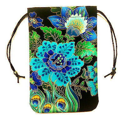 "Peacock Floral Tarot Bag Pouch 5""x7""  lined, for card decks - Midnight Plumes"