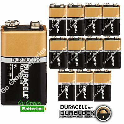 12 x Duracell 9V Alkaline Batteries Plus Duralock CopperTop PP3 LR22 BLOC MN1604