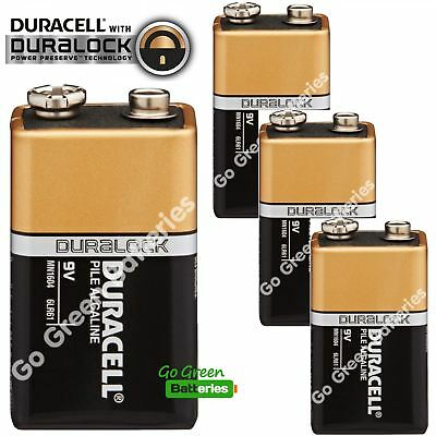 4 x Duracell 9V Alkaline Batteries Plus Duralock CopperTop PP3 LR22 BLOC MN1604