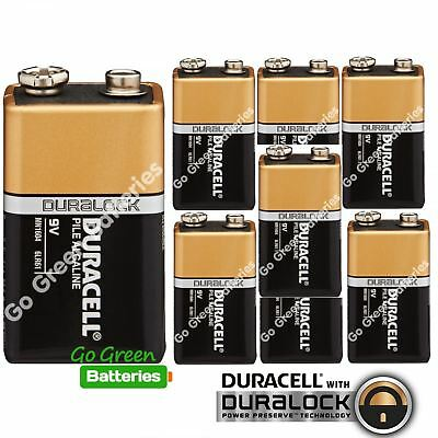 8 x Duracell 9V Alkaline Batteries Plus Duralock CopperTop PP3 LR22 BLOC MN1604