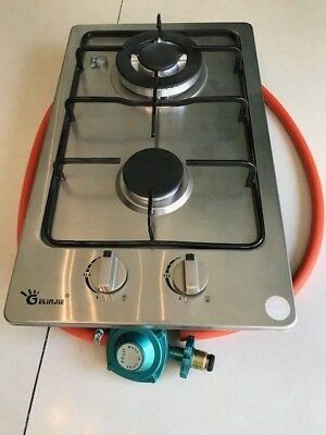 Drop in or above Counter Double Gas Side Burner with Regulator