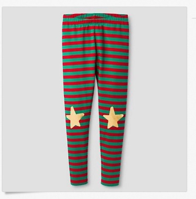 Cat & Jack Holiday Elf Red & Green Striped Star Leggings Size Girls M 7/8
