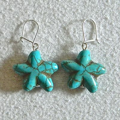 Sterling Silver 925 Turquoise Starfish Earrings
