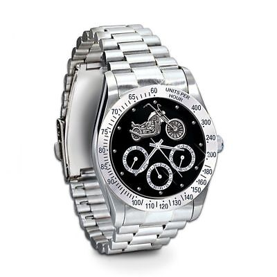 Ride Hard, Live Free Stainless Steel Motorcycle Chronograph Watch: Jewelry Gift