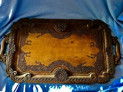 antique victorian Hand Carved Intricate Design Wooden Tray