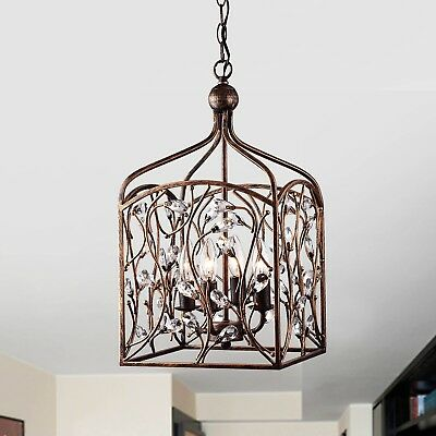Crystal Foyer Pendant Lantern In Antique Copper Home Lighting