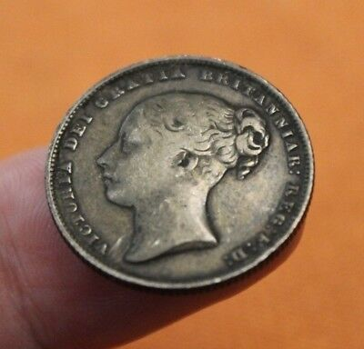 RARE - 1861 Great Britain Silver Shilling, great patina, toned, nice details, UK