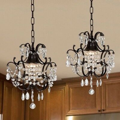 Wrought Iron And Crystal Mini-Chandelier 2-in-1 Set Home Lighting