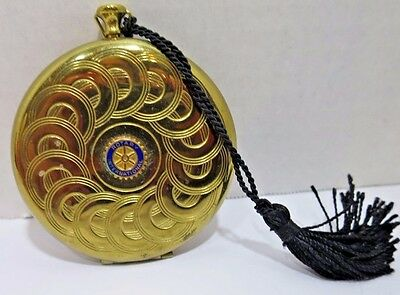 Zell 5th Avenue 1940's Brass Vintage POCKET WATCH COMPACT Rotary International