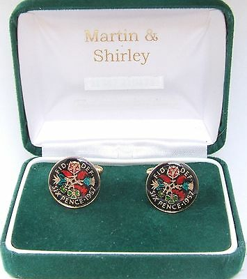 1957 Six pence cufflinks  real coins in Black & Colours