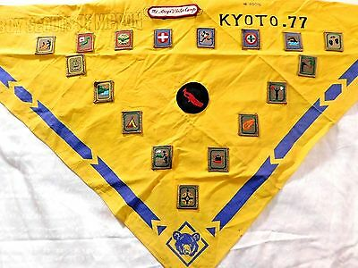 BOY SCOUTS of NIPPON KYOTO 77 CUBS NECKERCHIEF w/ PATCHES,Mt. Atago Winter Camp