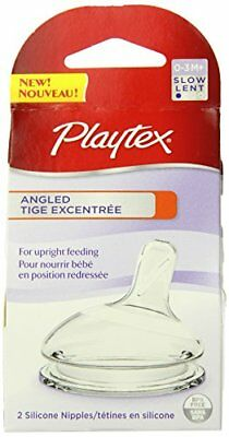 4 Pack Playtex Angled Nipple For Upright Feeding, Slow Flow, 2 Ct Each (8 Total)