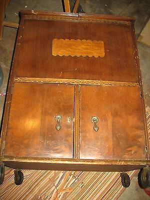 Rare Vintage 40's/50's Art Deco Solid Wood Fold Out Locking Liquor Cabinet