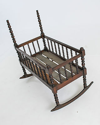 Antique, Walnut, Spindle Baby Cradle with never before uses custom matress