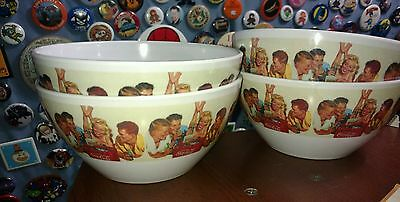 """Coca Cola Melamine Bowl 3 Boys and a Girl At The Beach 5 1/2"""" x 2 7/8"""" lot of 4"""