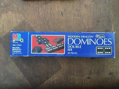 Vintage 1983 Milton Bradley Wooden Dragon Dominoes Double Six 28 Pieces