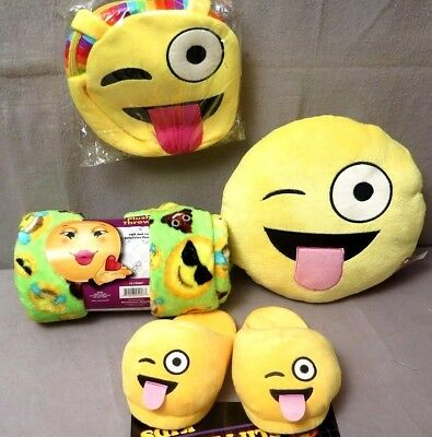 EMOJI TONGUE Blanket,Rainbow Purse,Slippers (Size Large) Pillow (Lot of 4) BNWT