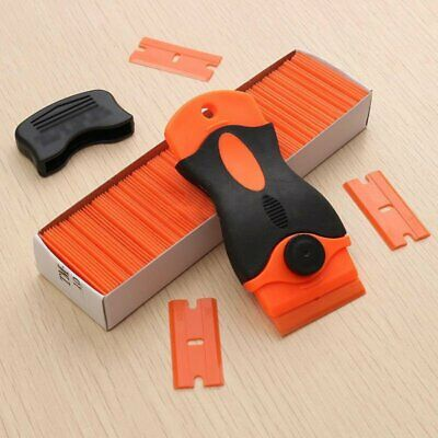 Razor Blade Scraper Removal Tool +100 1.5'' Plastic Double Edged Blades Hand Set