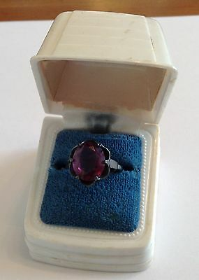 Vintage Sarah Coventry Signed Sterling Silver Purple Amethyst Ring Size 7.25
